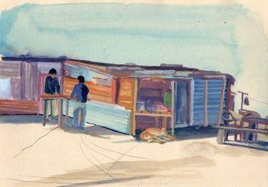 Le café du bidonville, Golphu, gouache sur papier beige, 29x21 cm