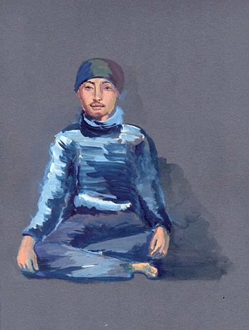 Portrait de Sangay, Golphu, gouache sur papier gris, 31x24 cm