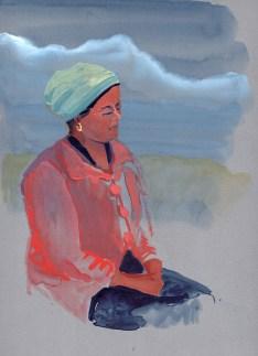 Portrait de la Didi, Golphu, gouache sur papier gris, 31x24 cm