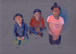 Enfants, Golphu, gouache sur papier gris, 24x16 cm