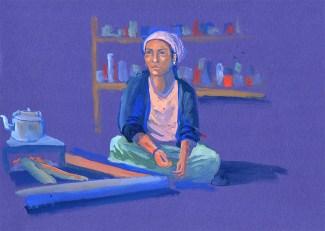 Portrait de Maya, Golphu, gouache sur papier bleu, 29x21 cm