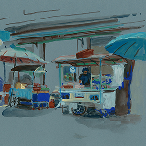 restaurant rue Bangkok gouache Maelle Joly