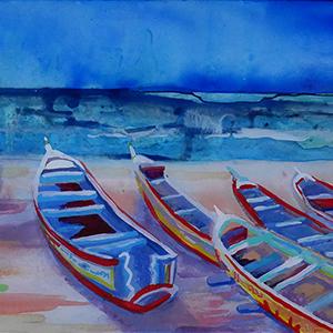 pirogues yoff Sénégal peinture sur verre