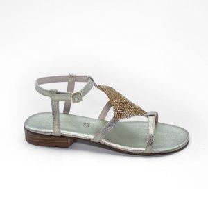Maemi sandalo sportivo tacco 15mm con strass cucito a mano – platino