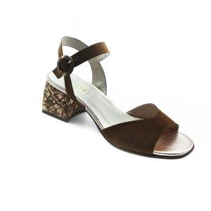 Maemi scarpa classica tacco 50mm in tessuto fiorata con fibbia rivestita - marrone