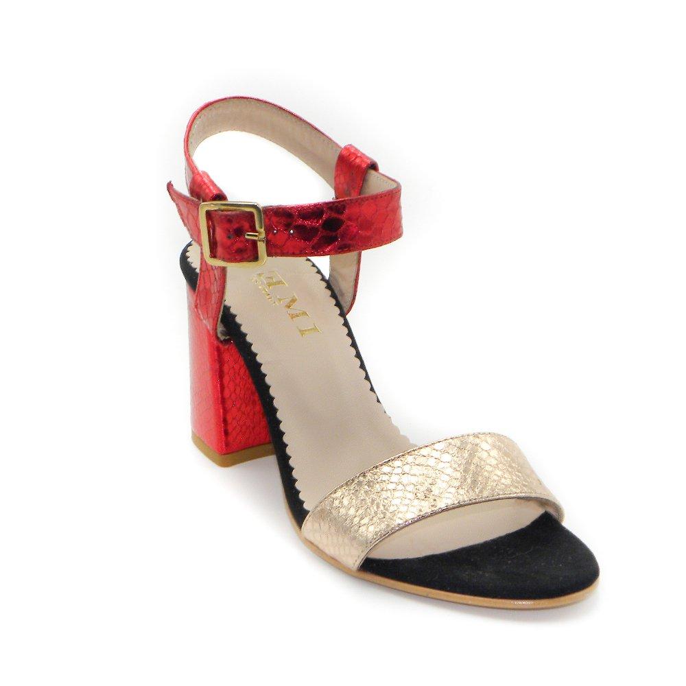 Maemi scarpa da cerimonia tacco 70mm con fibbia regolabile - rosso e rame (5)