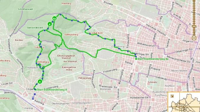 Der Stadtwanderweg 4 kombiniert mit 4a. Die blauen Punkte markieren unseren Pfad