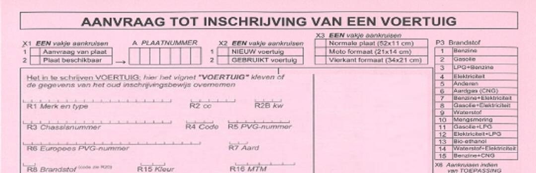 Aanvraag inschrijving voertuig