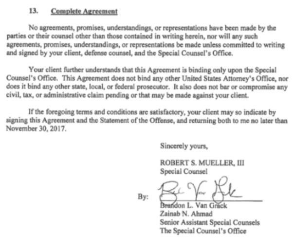 Special Counsel Complete Agreement - Robert S Mueller