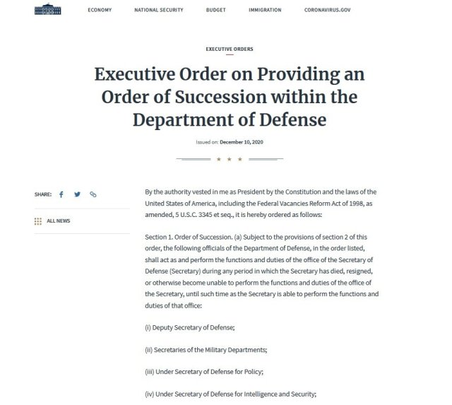 Executive order on providing an order of succession within the Department of Defense.