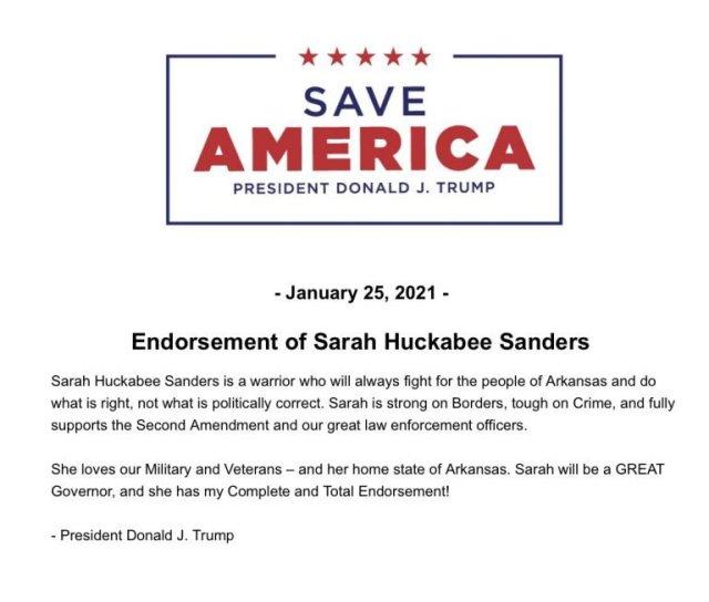 Sarah Huckabee Sanders endorsement letter.