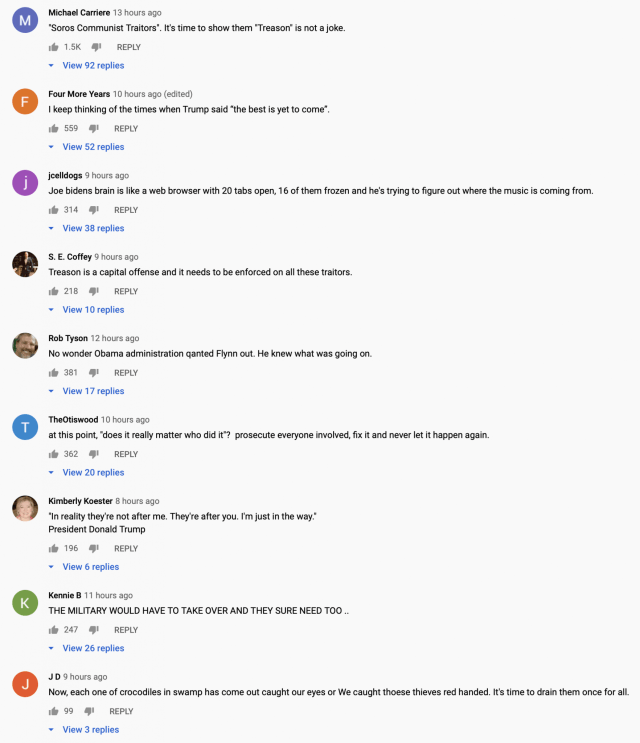 Comments about the General Flynn Alex Jones interview on youtube.