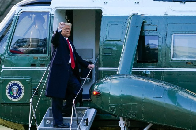 President Donald Trump gestures Wednesday as he boards Marine One on the South Lawn of the White House. | Alex Brandon/AP Photo