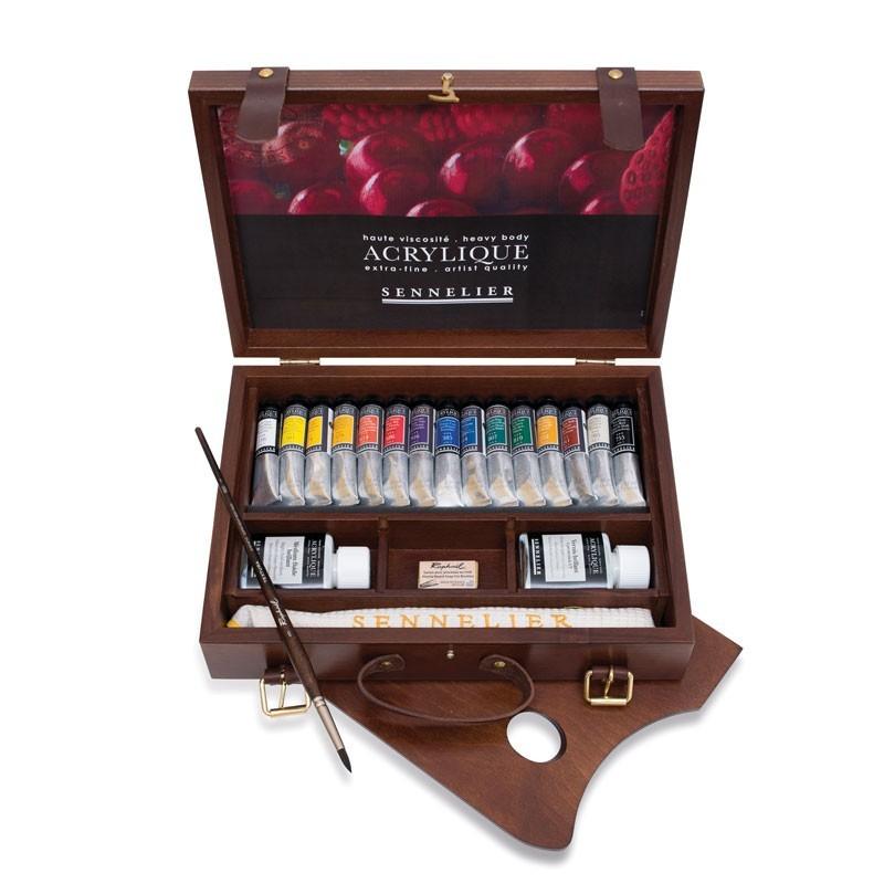 coffret bois acrylique sennelier de 15 tubes de 21 ml et accessoires