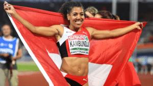 La championne suisse Mujinga Kambundji. Très grande championne: «lokumu mpe na bana  ya ekolo Congo».