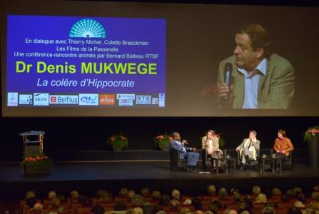 28 mars 2015,Liège: Dr Mukwege, Balteau,Thierry Michel et Colette Braeckman(Photo Les Films de la Passerelle).