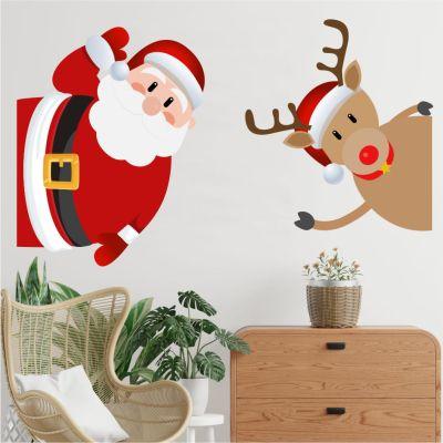Adesivo de Parede Papai Noel e Rena