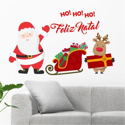 Adesivo de Parede Trenó Papai Noel