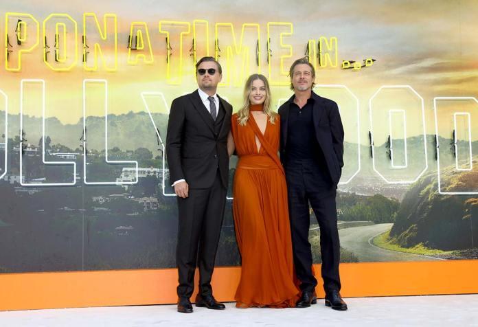 Brad Pitt, Leonardo DiCaprio and Margot Robbie