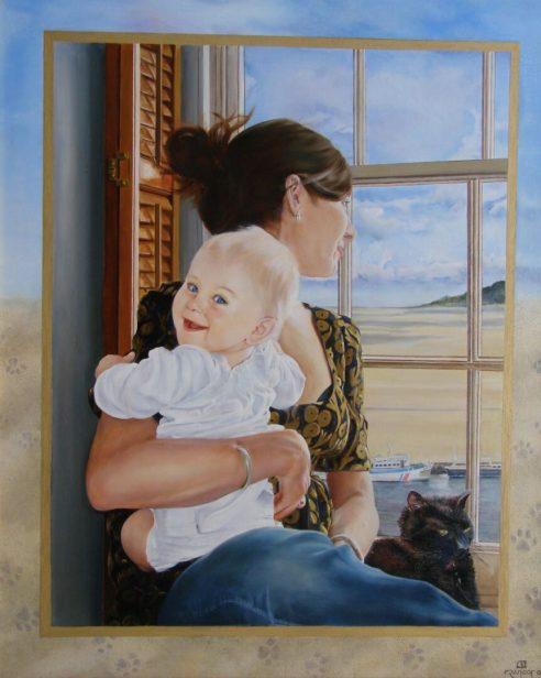 Dochter van Dieter en Sue, olieverf op paneel, 70x90cm