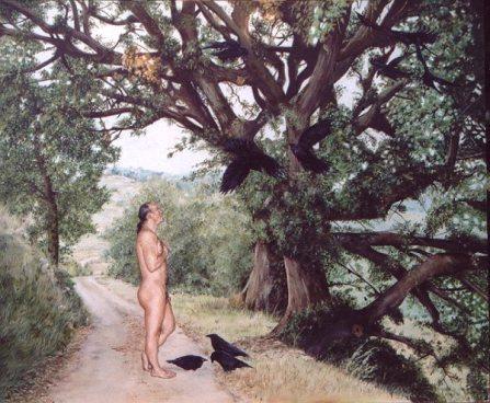 De Man die met de dieren sprak, olieverf op paneel, 63x52cm