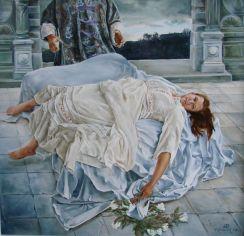 Het ongelukkig gesternte (Desdemona), olieverf op paneel, 44x43cm