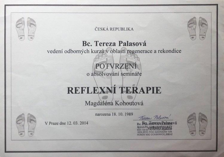 Osvědčení reflexní terapie
