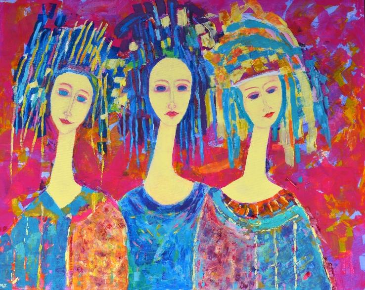 Obrazy na płótnie duże kolorowe - obraz Trzy siostry