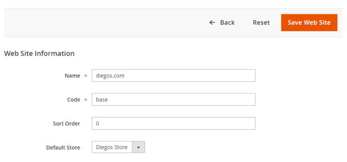 Setup Magento Multiple Websites