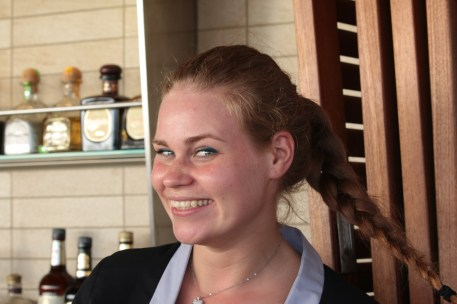 This lovely young lady from Holland was tending bar at the Sunset Bar. She got all excited because she owns the same camera as mine.
