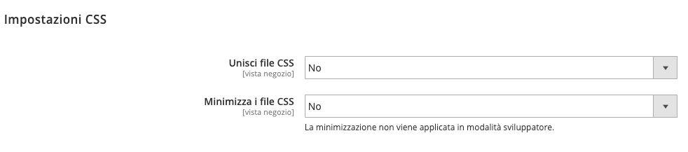 Come abilitare la minificazione dei CSS in Magento 2