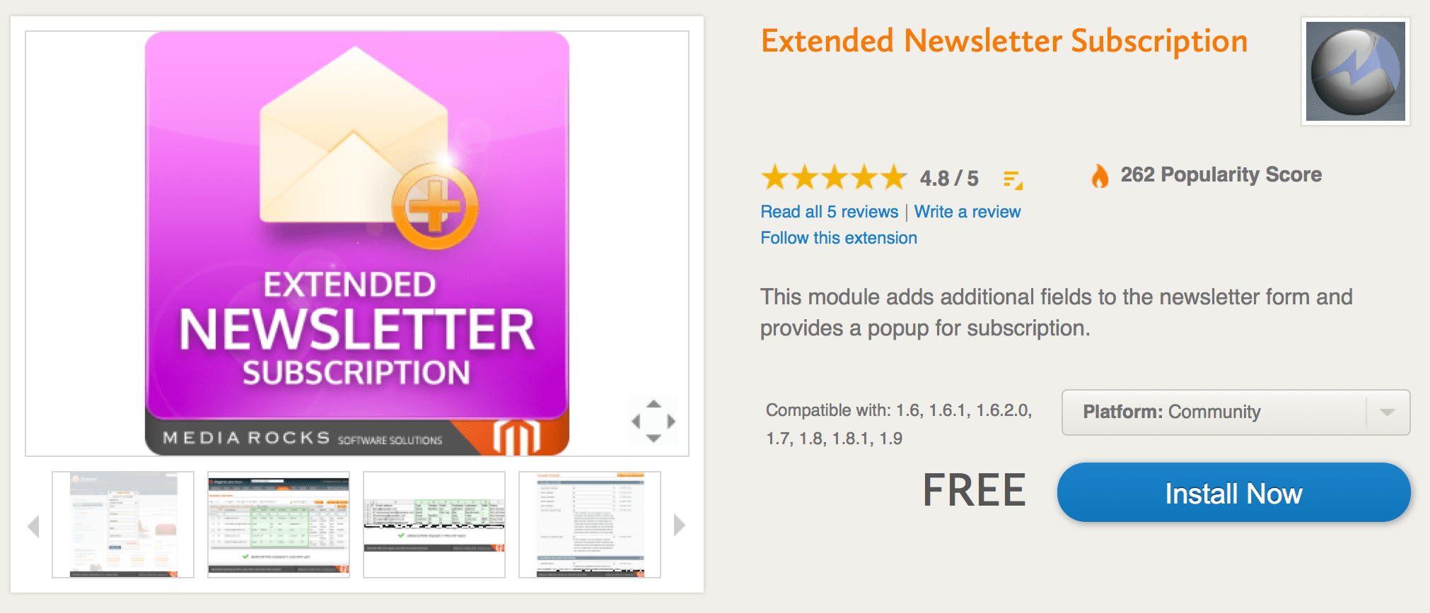 Extended Newsletter Magento Modulo Gratuito