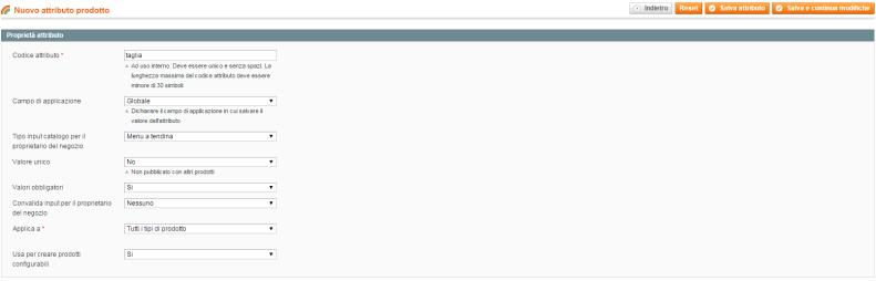 Nuovo attributo Taglia   Gestione attributi   Attributi   Catalogo   Magento Admin
