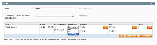 configurazione link prodotti scaricabili