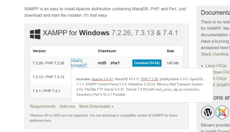 XAMPP choose version download