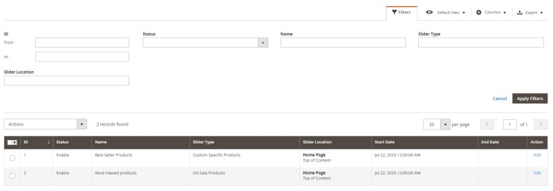 10. Product Slider Filters