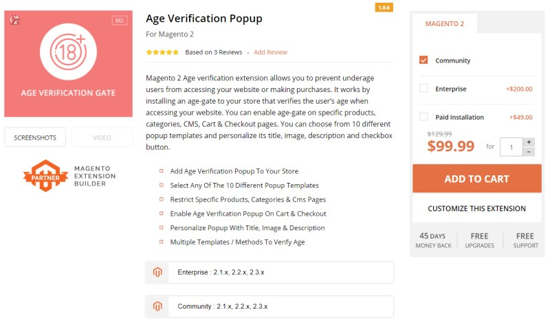 Age Verification Popup For Magento 2 - FMEExtensions