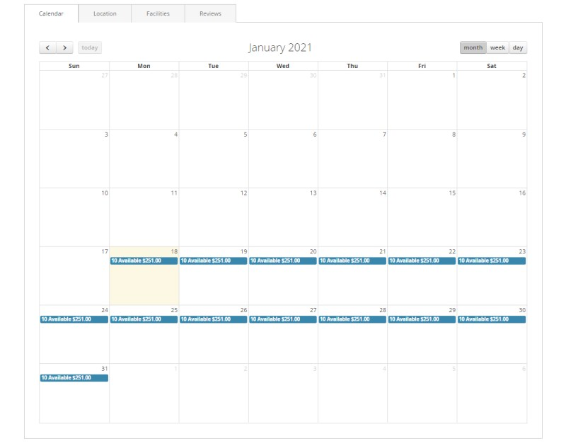 Calendar events (Product Page)