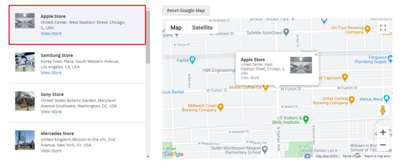 Click on the desired store to display the exact Google maps location.
