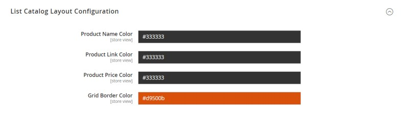 List Catalog Layout Configuration