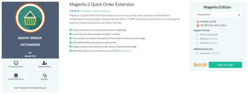 Magetop Quick Order Extension
