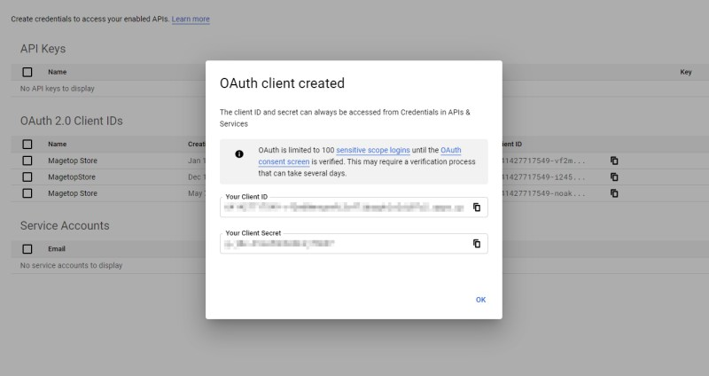 OAuth client created