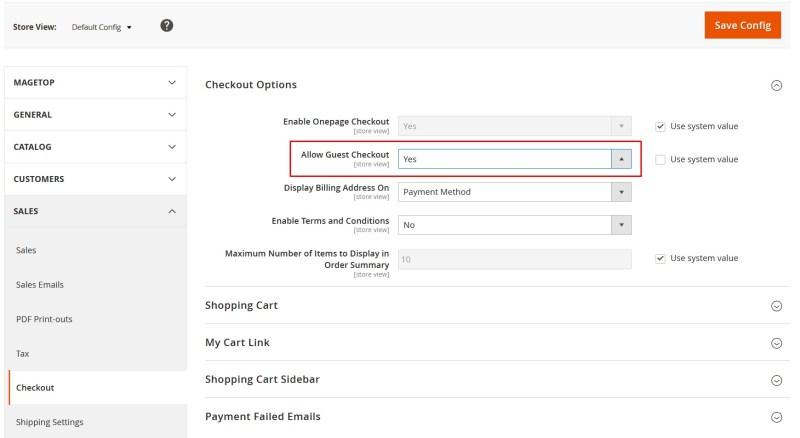 tính năng allow guest checkout trong Magento 2