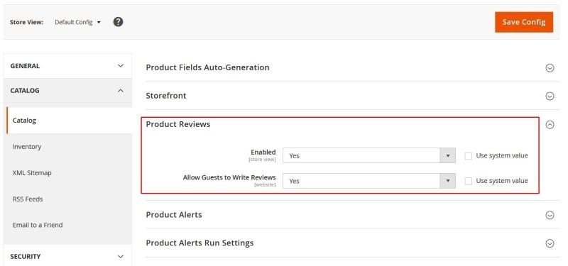 bật cho phép khách hàng viết đánh giá sản phẩm trong Magento 2