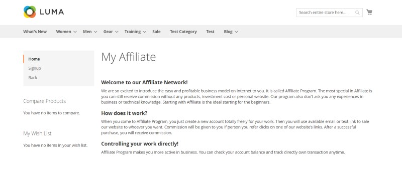 Affiliate Home Page
