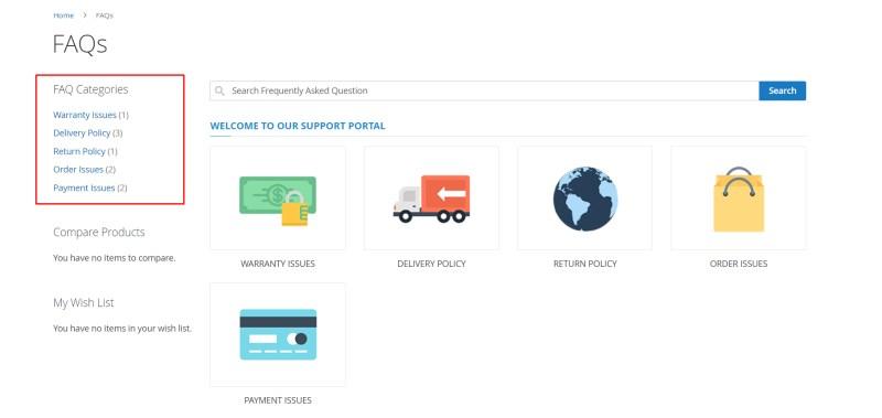 FAQ Categories in left sidebar