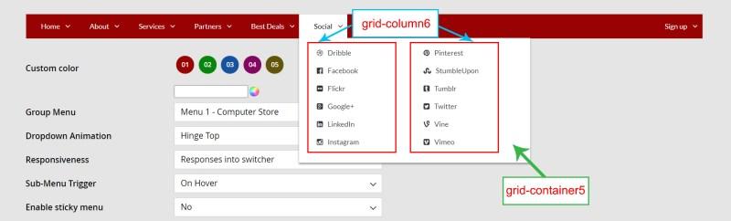 Grid column, grid container