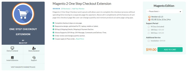 Magetop One Step Checkout Extension