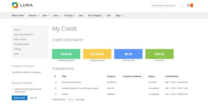 My Credit Page