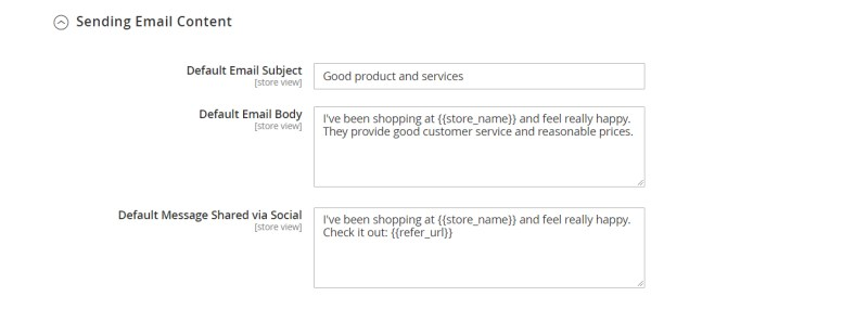 Sending Email Content (Refer Friends Configuration)